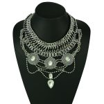European Style Wide Chain Carving Coin Beads Snake Chain Crystal Ethnic Statement Necklace Costume <b>Jewelry</b> <b>Accessories</b>