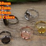100pc 10/12/14mm Pad ring blank with Cameo Tray,<b>Antique</b> Bronze/Gold/Silver Ring setting,Handmade DIY Zakka <b>jewelry</b> Finding