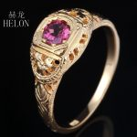 HELON PRETTY ANTIQUE FILIGREE NATURAL TOURMALINE <b>ART</b> <b>DECO</b> VINTAGE RING SOLID 14K YELLOW GOLD WOMEN'S <b>JEWELRY</b> FINE RING