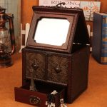 Retro Coins pattern <b>jewelry</b> box <b>Antique</b> do old Dressing case Desktop Makeup with mirror portable handle With drawer Storage Box