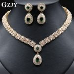 GZJY Luxury High Quality African CZ Cubic Zirconia Earring Necklace <b>Jewelry</b> Sets For Women Wedding Party <b>Accessories</b> 4 Colors
