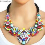 Ufavoirte Exaggerated Weave Knitting Necklace Crystal Flower Pendants Statement Necklace Fashion <b>Jewelry</b> Women Gift <b>Accessories</b>