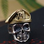 Emperor gold <b>jewelry</b> line Personality skull opening ring male money wholesale S925 pure silver <b>antique</b> style