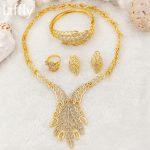 Fashion Bride 24K Gold <b>Jewelry</b> Sets Charm Crystal Necklace Bracelet Ring Earrings Italian Luxury Wedding <b>Jewelry</b> <b>Accessories</b>