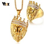 Vnox Gold Tone Lion Head <b>Jewelry</b> Sets for Men Rock Punk Stainless Steel Ring and Necklaces <b>Accessories</b> Male Boy Party Gifts