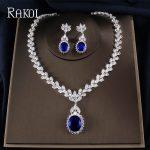 RAKOL Big Cubic Zirconia Dazzlingly Leaf Necklace Earrings <b>Jewelry</b> Set For Women Bridal Engagement Wedding <b>Accessory</b>
