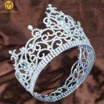 Gorgeous Large Flower Tiara Diadem Austrian Rhinestone Silver Headband Hair <b>Jewelry</b> Pageant Party <b>Art</b> <b>Deco</b>