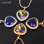 Collare Blue <b>Jewelry</b> Charm Reiki Pendant Valentine's Gift Heart <b>Accessories</b> Gold/Silver Color Titanic Necklace Women P169