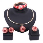Wedding Bridal Enamel Crystal <b>Jewelry</b> Sets For Women Party <b>Accessories</b> African Beads Statement Necklace Earrings Bangle Ring Set