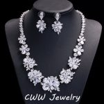 CWWZircons Luxury Bridal <b>Jewelry</b> Sets Sparkling Cubic Zirconia Crystal Wedding Necklace Earrings <b>Accessories</b> For Brides T116