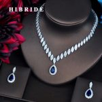 HIBRIDE Luxury Marquise Cut Cubic Zirconia Women <b>Jewelry</b> Sets Blue Water Drop Set Wedding Dress <b>Accessories</b> Party Gifts N-486