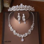 High-quality new bride crown tiara three-piece zircon necklace earrings princess birthday wedding with female <b>accessories</b> gift