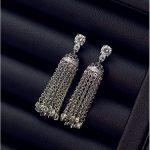 High quality luxury long fringed European and American sterling silver earrings earrings Korean <b>accessories</b> allergy <b>jewelry</b> fema