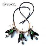 eManco Trendy Gorgeous Flower Adjustable Necklace & Pendant for Women Green Resin Rhinestone Copper <b>Jewelry</b> & <b>Accessories</b>