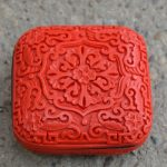 Exquisite Square Chinese Flower Red Cinnabar Lacquer Beautiful Flower Designs Auspicious <b>Jewelry</b> Box