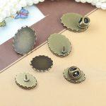 60pcs 13*18mm,18*25mm Oval Lace Pad Round Brooches <b>Antique</b> Bronze vintage cabochon pin base blank setting handmade <b>jewelry</b>