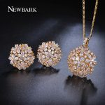 NEWBARK Flower Shaped Cubic Zirconia <b>Jewelry</b> Sets Trendy Plant Gold-color Copper Necklace/Earrings For Women Fashion <b>Accessories</b>