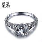 Solid 10K White Gold 8mm Round Cut 1.51CT Natural White Topaz Ring <b>Art</b> <b>Deco</b> Vintage Engagement Wedding Ring Fine <b>Jewelry</b>