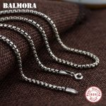 BALMORA Retro 100% Real 925 Sterling Silver Chains Necklaces for Women Men Classic Silver <b>Jewelry</b> <b>Accessories</b> Bijoux CK0057