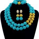 Luxury Light Blue African Wedding <b>Jewelry</b> Set Plastic Balls Costume Women Party Events <b>Jewelry</b> <b>Accessories</b> Free Ship QW770