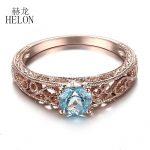 HELON 925 Sterling Silver 5mm Round Cut Blue Topaz Ring Filigree Vintage <b>Art</b> <b>Deco</b> Gemstone Engagement Wedding Ring Fine <b>Jewelry</b>