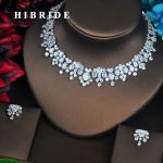 HIBRIDE New Trendy Clear Big AAA Cubic Zirconia <b>Jewelry</b> Sets Luxury Necklace Set Wedding Dress <b>Accessories</b> Party Show Gift N-500