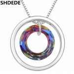 SHDEDE Round Pendant Necklaces <b>Jewelry</b> Crystal from Austrian High Quality Famous Brand <b>Accessories</b> Anniversary Gift -17504