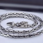 Thai silver long chain necklace handmade Chinese dragon skin design necklace 925 sterling silver male <b>jewelry</b> 47 to 60cm (HY)