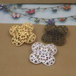 40pcs/Lot 35mm fallen petals Brooches <b>Antique</b> Bronze/Silver/Gold vintage cabochon pin base blank setting diy handmade <b>jewelry</b>