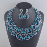 Luxury Big Rhinestone Necklace earrings blue waterdrop Crystal Bridal <b>Jewelry</b> Set Weding Dress <b>Jewelry</b> Party Prom <b>Accessories</b>