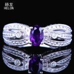 <b>Art</b> <b>Deco</b> Vintage <b>Jewelry</b> Oval Cut 6x4mm Amethyst Ring Engagement Wedding Gemstone Fine Diamonds Ring Setting Sterling Silver 925