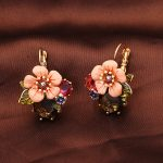 French Dyxytwe Enamel Pop <b>Jewelries</b> Pink Flowers Green Gem Earrings For Female Romantic <b>Accessories</b>