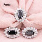 PATAYA New Wedding Crystal <b>Jewelry</b> Sets True White Gold Round Natural Zircon Big Earring Ring <b>Accessories</b> Egyptian Bride <b>Jewelry</b>