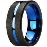 Mens Tungsten Rings 8mm Wedding Band Blue Center Groove Black Line Brushed Couples Engagement Rings <b>Antique</b> <b>Jewelry</b>