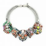 Layered Rope Chain Colorful Floral Cluster Statement Necklace Bohemian <b>Jewelry</b> Women Chunky Necklace Costume <b>Accessories</b>