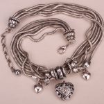 Heart link chain necklace women biker bling <b>jewelry</b> gifts adjustable <b>antique</b> silver color W crystal YJ12 wholesale dropshipping