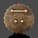 <b>Antique</b> Chinese Furniture Hardware Brass Trunk Handle Lock Hasp <b>Jewelry</b> Wooden Box Locking Buckle Hasp Lock Latch for Furniture