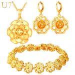 U7 Gold/Silver Color Big Flower <b>Jewelry</b> Set For Women Wedding <b>Accessories</b> Trendy Wedding <b>Jewelry</b> Sets For Brides S774