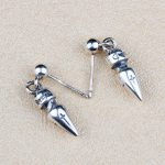 Gothic Punk Style Bullet Spike Nail Drop Earring Men Women 100% Solid Sterling Silver 925 Most Trendy <b>Antique</b> Silver 925 <b>Jewelry</b>
