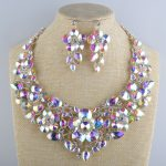 Bridal wedding Necklace crystal AB aurora color statement <b>jewelry</b> sets Glass flower For women's party dress <b>Jewelry</b> <b>accessories</b>