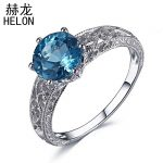 Solid 10k/417 White Gold Flawless 8mm Round 1.6ct Genuine Swiss Blue Topaz Engagement Wedding Vintage <b>Art</b> <b>Deco</b> Fine <b>Jewelry</b> Ring