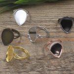 100pcs Cabochon 13*18mm,18*25mm Tear drop Pad ring blank Cameo Tray,<b>Antique</b> Bronze/Gold/Silver Ring setting,DIY <b>jewelry</b> Finding