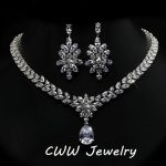 CWWZircons Luxury Cubic Zirconia Bridal <b>Jewelry</b> <b>Accessories</b> Crystal Long Big Wedding Earrings And Necklace Sets For Brides T144