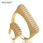 Madrry Personality Bangle & Ring <b>Jewelry</b> Sets AAA Cubic Zirconia Inlay Copper Metal Women Wedding <b>Accessories</b> Pulseira Joias