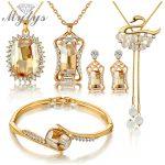 Mytys 5PCS <b>Jewelry</b> Set High Quality Crystal Earring Necklace Bracelet Bridal Wedding Sets <b>Accessories</b> N406
