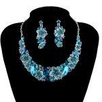 Fashion Bridal Wedding Jewellery Blue Crystal Necklace Earrings Brides <b>Jewelry</b> Sets Women Party <b>Accessories</b> <b>Jewelry</b>