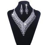 Austrian Crystal Bridal <b>Jewelry</b> Sets For Women Wedding Long Tassel Statement Necklace/Earrings Set Dress <b>Accessories</b> N119