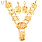 U7 African Dubai Gold Color <b>Jewelry</b> Sets For Women Wedding <b>Accessories</b> Tassels Long Earrings Charms Necklace Set For Women S741