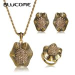 Blucome Vintage Antique Gold Color Crystal Flower Pendant Necklace Earring Ring <b>Jewelry</b> Set Women Banquet Party <b>Accessories</b> Gift