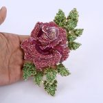 Bella Fashion Gorgeous Rose Flower Brooch Pins Austrian Crystal Rhinestone Brooches For Women <b>Accessory</b> Party Daily <b>Jewelry</b> Gift